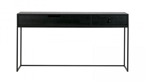 Console 2 tiroirs en chêne brossé noir - Collection Silas - Woood