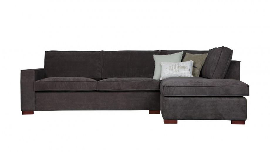 Canapé d'angle droit 4 places en tissu gris foncé - Collection Thomas - Woood