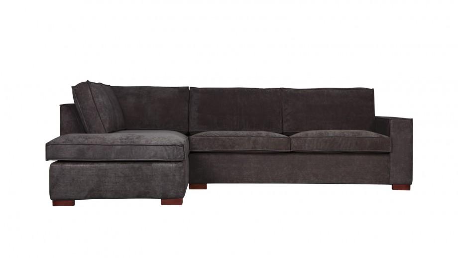 Canapé d'angle gauche 4 places en tissu gris foncé - Collection Thomas - Woood
