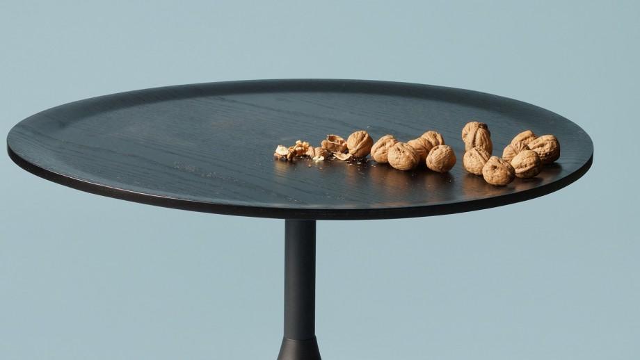 Table basse ronde ø70cm en chêne et métal noir - Collection Bowie - Woood