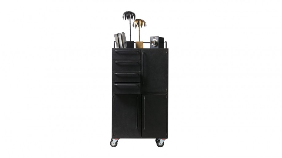 Meuble de rangement sur roulettes - Collection Black Beauty - BePureHome