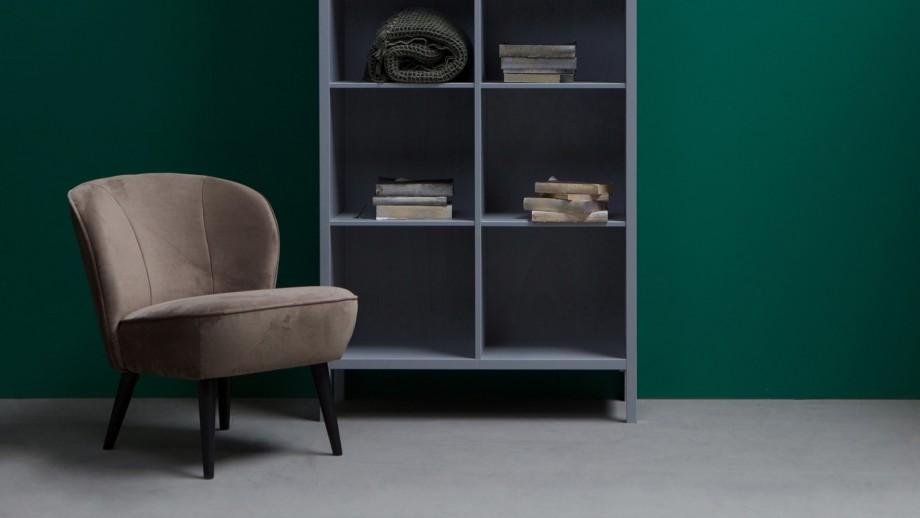 Fauteuil en velours vert olive - Collection Sara - Woood