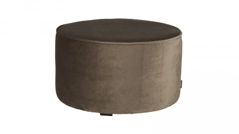 Pouf bas rond en velours or olive - Collection Sara - Woood
