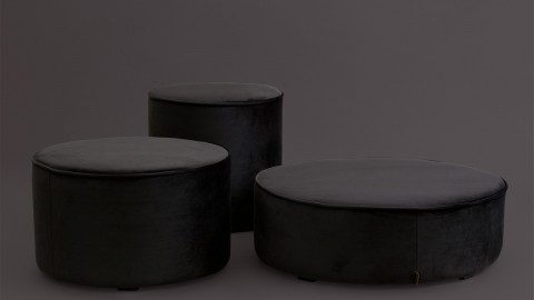 Pouf bas rond en velours gris anthracite - Collection Sara - Woood