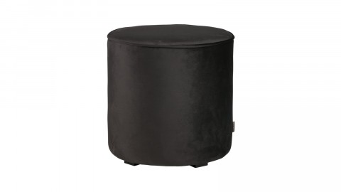 Pouf haut rond en velours gris anthracite - Collection Sara - Woood