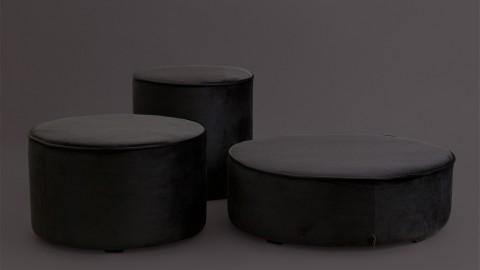 Pouf rond XL bas en velours gris anthracite - Collection Sara - Woood