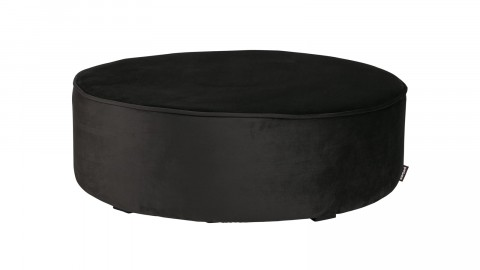 Pouf rond XL bas en velours gris anthracite - Collection Sara - Woood