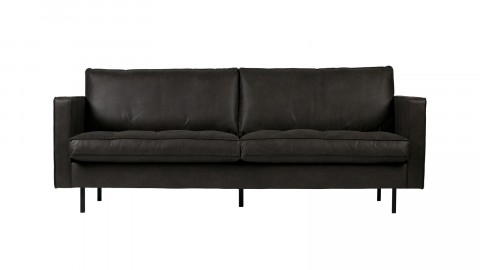 Canapé 3,5 places en cuir noir - Collection Rodéo - BePureHome