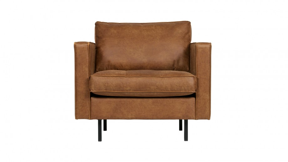 Fauteuil en cuir cognac - Collection Rodeo - BePureHome