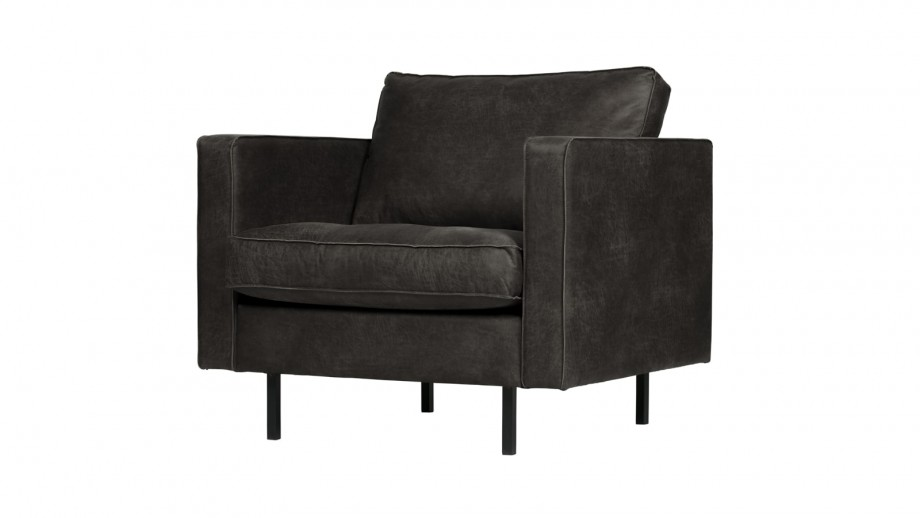 Fauteuil en cuir noir - Collection Rodeo - BePureHome