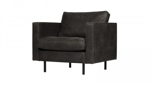 Fauteuil en cuir noir - Collection Rodeo - BePureHome