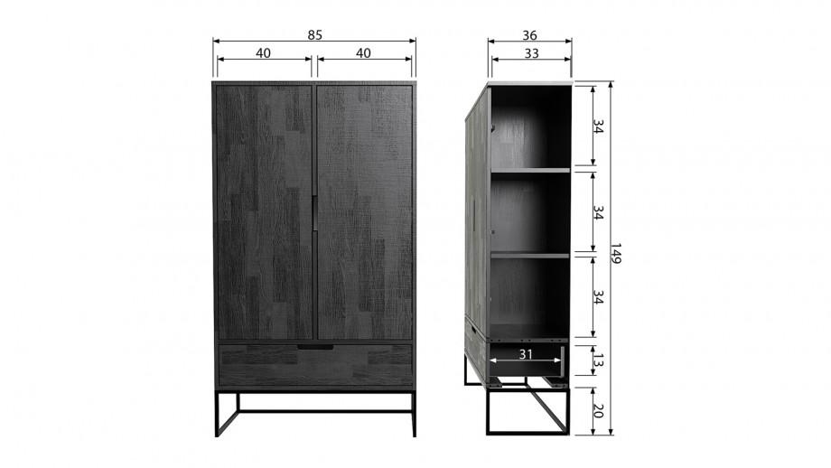 Armoire 2 portes en chêne noir - Collection Silas - Woood