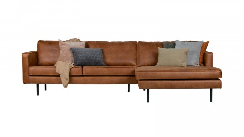 Canapé d'angle droit 4 places en cuir cognac - Collection Rodeo - BePureHome