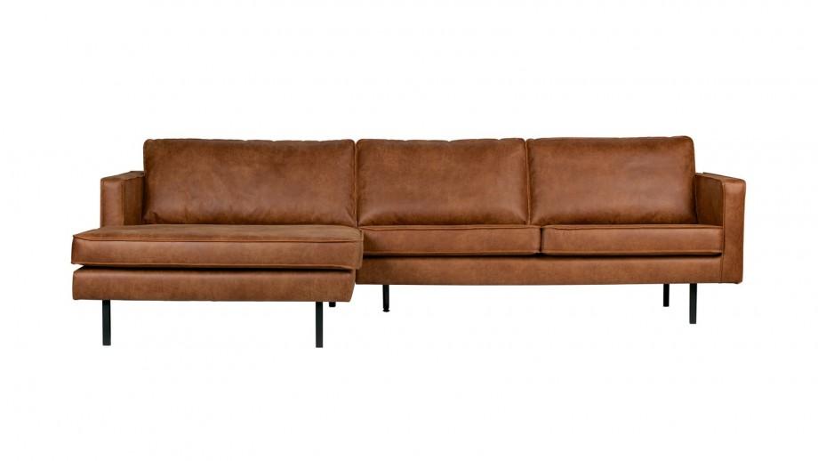 Canapé d'angle gauche 4 places en cuir cognac - Collection Rodeo - BePureHome