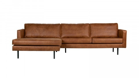 Canapé d'angle gauche 4 places en cuir cognac - Collection Rodéo - BePureHome