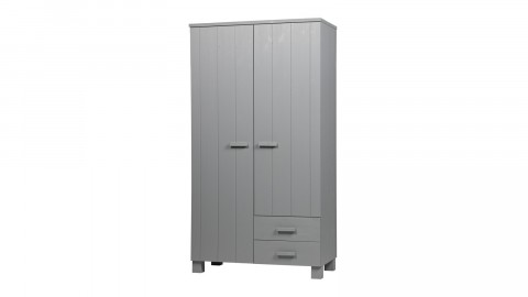 Armoire 2 portes 2 tiroirs en pin gris béton - Collection Dennis - Woood