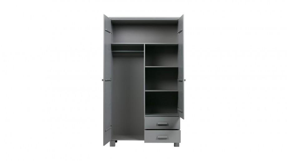 Armoire 2 portes 2 tiroirs en pin gris béton - Collection Dennis - Woood