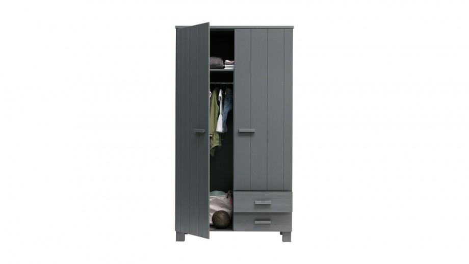 Armoire 2 portes 2 tiroirs en pin gris anthracite - Collection Dennis - Woood