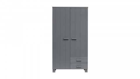 Armoire 2 portes 2 tiroirs en pin gris anthracite - Collection Dennis - Woood