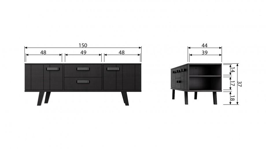 Meuble TV bas en pin massif noir 2 portes 2 tiroirs - Collection Watch - BePureHome