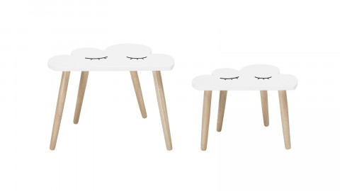 Lot de 2 tables nuages en bois blanc - Bloomingville