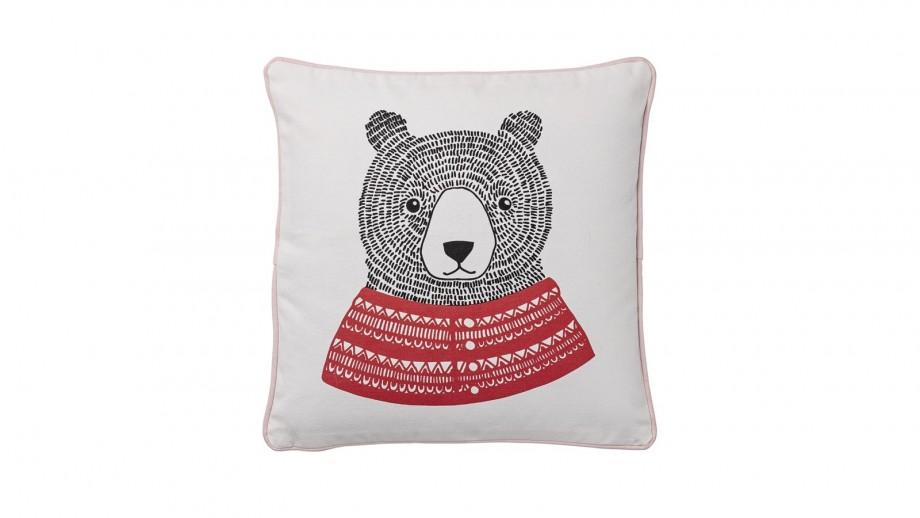 Coussin carré blanc et rouge imprimé ours - Bloomingville