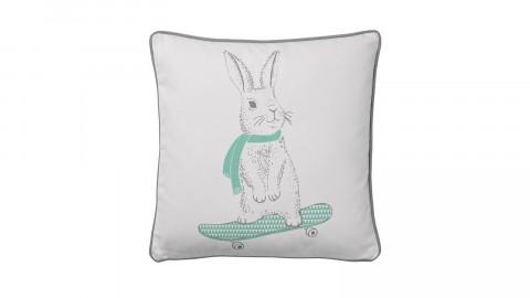 Coussin carré blanc et bleu imprimé lapin - Bloomingville