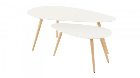 Set de 2 tables basses gigognes scandinaves en bouleau blanc laqué, piètement conique - Collection Harøld