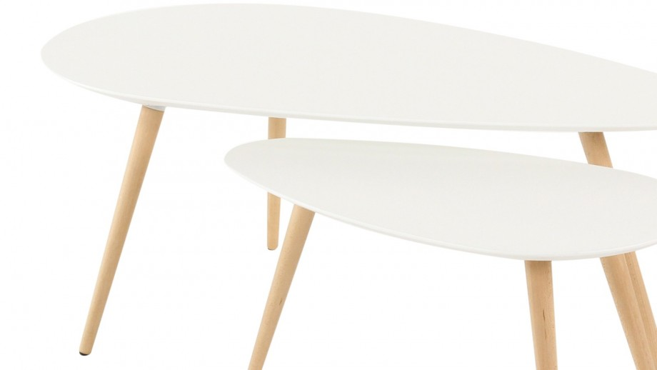 Harøld - Tables basses gigognes Scandinave laquées blanc mat