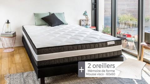 Matelas mousse haute densité 180x200 Spring Luxe Hbedding + 2 oreillers à mémoire de forme 60x60cm.