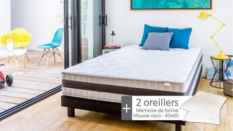 Ensemble matelas mémoire + sommier 140x190 Memo Luxe Hbedding + 2 oreillers à mémoire de forme 60x60cm