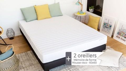Matelas mousse haute densité 140x190 Confort Zen Hbedding + 2 oreillers à mémoire de forme 60x60cm.