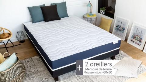 Matelas mousse à mémire de forme 160x200 Memory Fresh Hbedding + 2 oreillers à mémoire de forme 60x60cm.