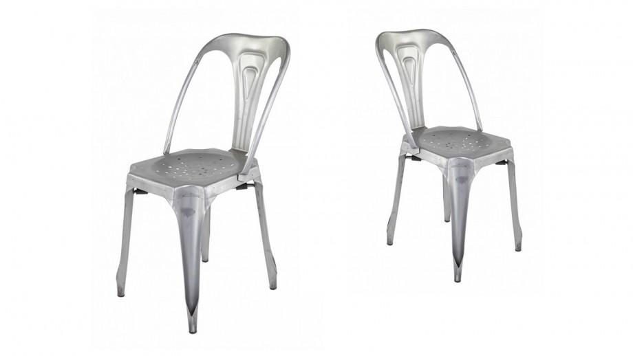 Factø - Lot de 4 chaises style industriel, métal argent