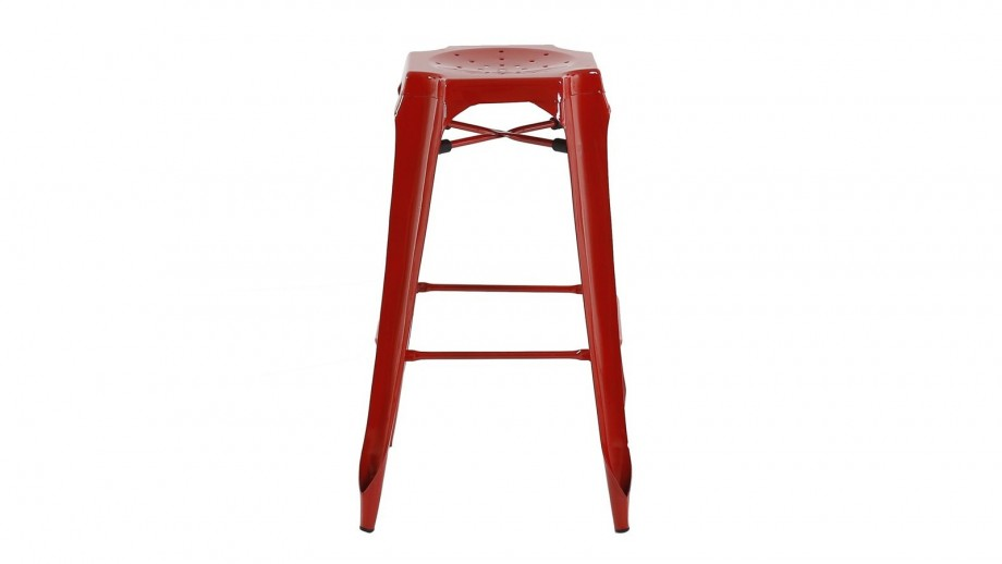 Factø - Lot de 2 tabourets de bar style industriel, rouge