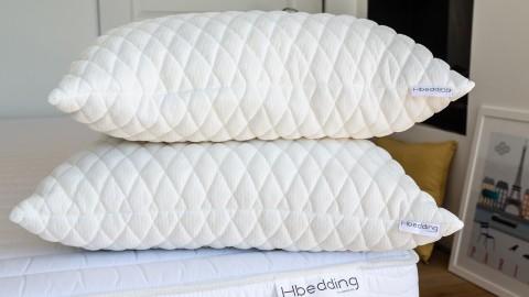 Ensemble matelas ressorts ensachés + sommier 140x190 Spring Memo Royal Hbedding + 2 oreillers à mémoire de forme 60x60cm