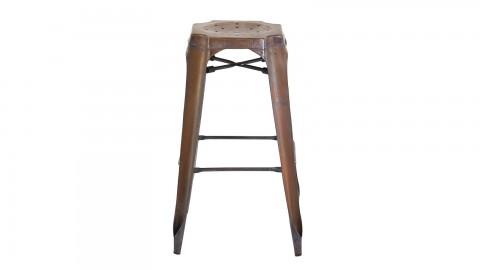 Factø - Lot de 2 tabourets de bar style industriel, cuivre vieilli