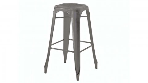 Factø - Lot de 2 tabourets de bar style industriel, argent