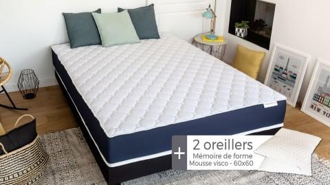 Matelas mousse à mémoire de forme 160x200 Visco Fresh Hbedding + 2 oreillers à mémoire de forme 60x60cm.
