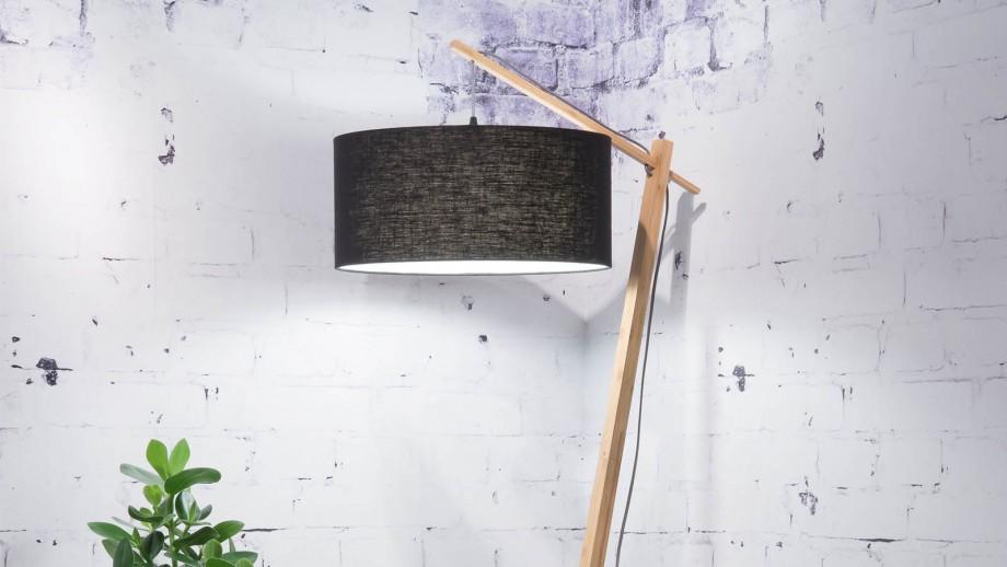 Lampadaire en bambou abat jour en lin noir - Collection Andes - Good&Mojo