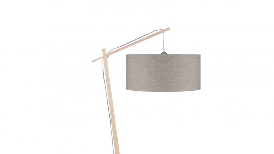 Lampadaire en bambou abat jour en lin foncé - Collection Andes - Good&Mojo