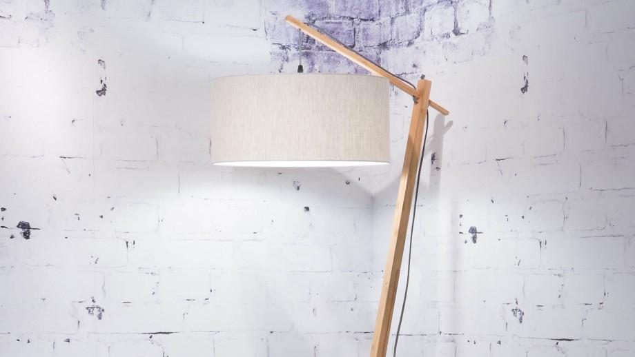 Lampadaire en bambou abat jour en lin clair - Collection Andes - Good&Mojo