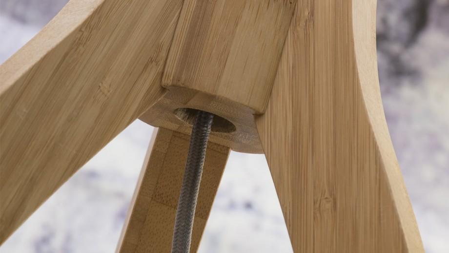Lampadaire en bambou abat jour en lin noir - Collection Annapurna - Good&Mojo