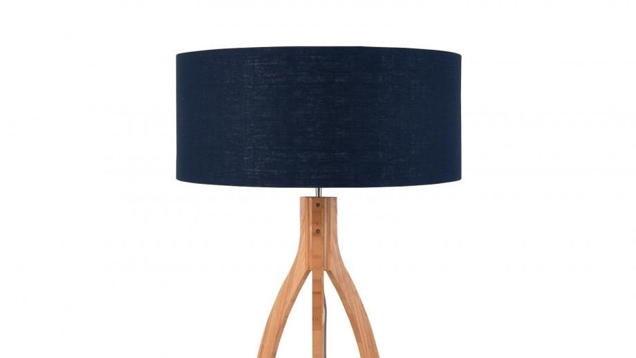 Lampadaire en bambou abat jour en lin bleu denim - Collection Annapurna - Good&Mojo