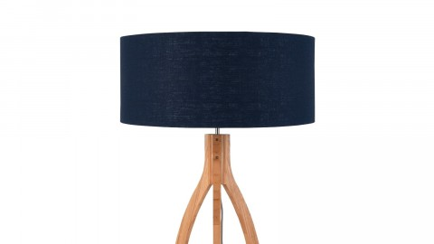 Lampadaire en bambou abat jour en lin bleu denim - Collection Annapurna - Good&Mojo