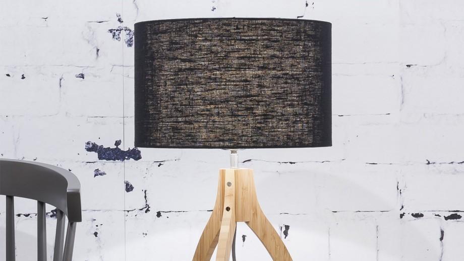 Lampe à poser en bambou abat jour en lin noir - Collection Annapurna - Good&Mojo