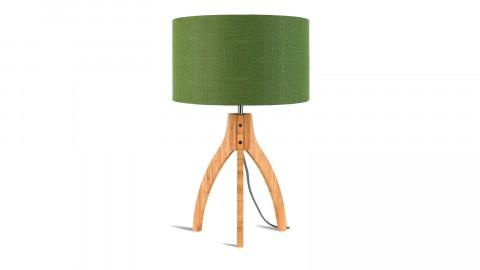 Lampe à poser en bambou abat jour en lin vert forêt - Collection Annapurna - Good&Mojo