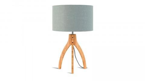 Lampe à poser en bambou abat jour en lin gris clair - Collection Annapurna - Good&Mojo