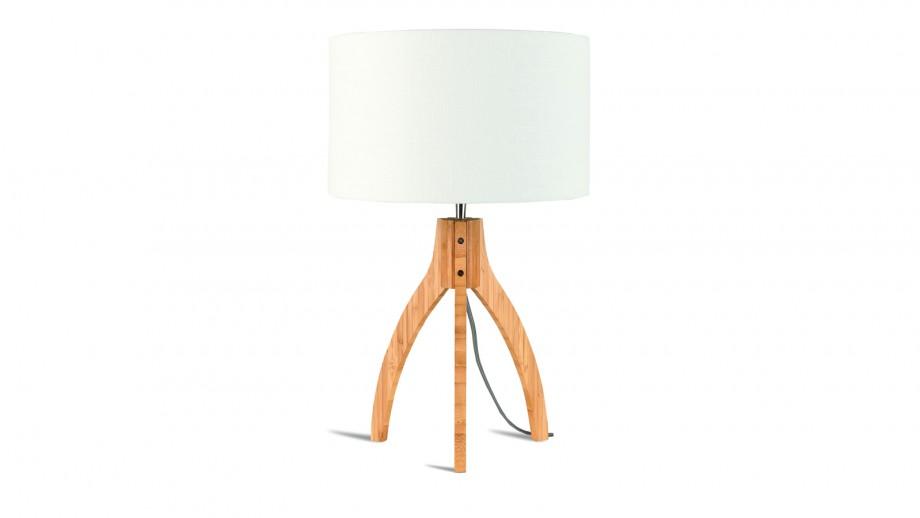 Lampe à poser en bambou abat jour en lin blanc - Collection Annapurna - Good&Mojo