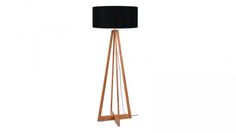 Lampadaire en bambou abat jour en lin noir - Collection Eeverest - Good&Mojo